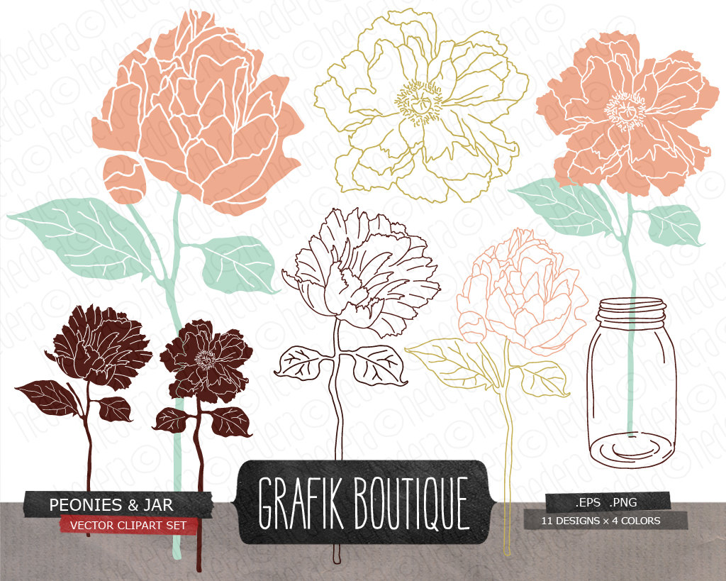 Mason jar flowers digital vector clip art wedding save the.