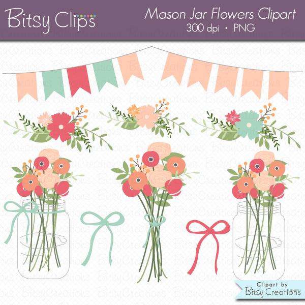 Mason Jar Flowers Clipart Commercial Use Clip Art INSTANT Download.