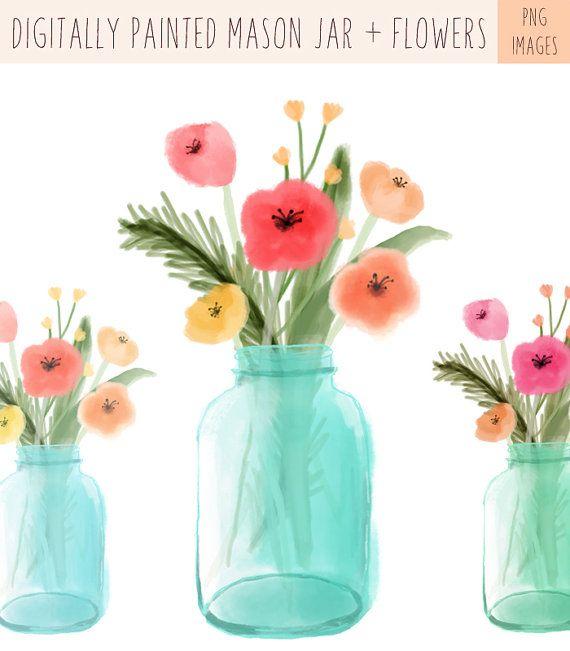 Digitally Painted Mason Jar Clip Art and Digitally Painted Flower.