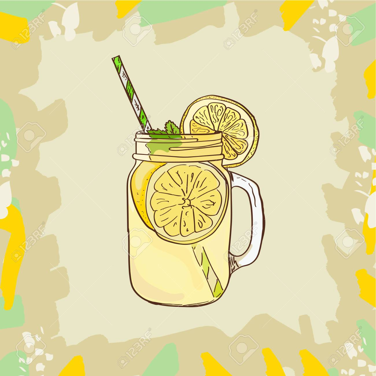 Lemonade in mason jar mug with drinking straw and lemon wedge.