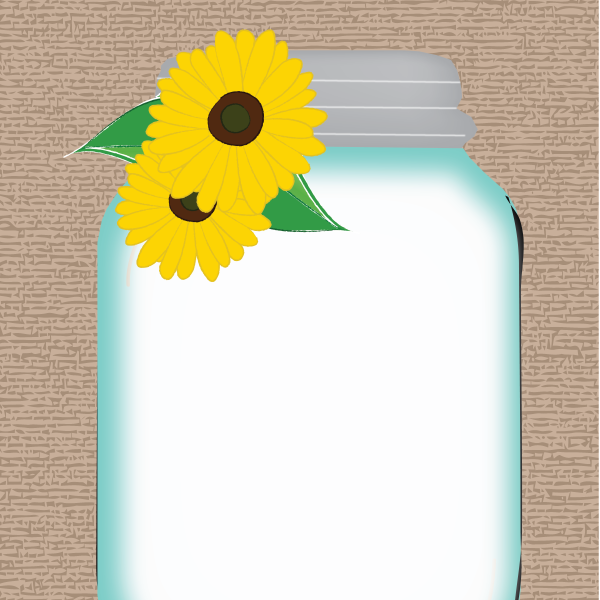 Sunflower In Mason Jar Clipart.