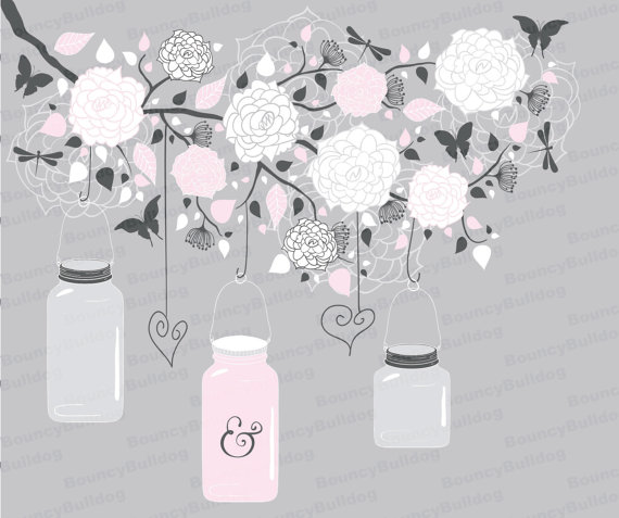 Flowers hanging jars clipart tree branch vector mason jar.