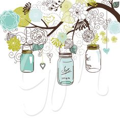 Hand Drawn Mason Jars, card template and digital papers, Clip art.