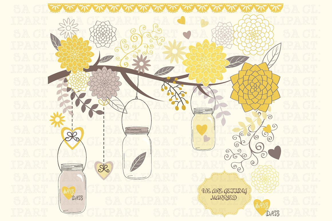 Mason jar tree clip art Photos, Graphics, Fonts, Themes, Templates.
