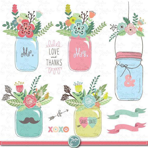 Hand Draw Mason jar Clipart: \