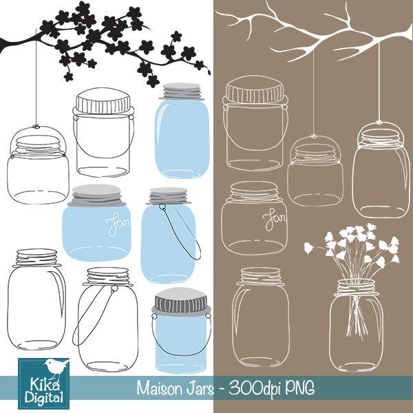 Mason Jar Wedding Clipart.
