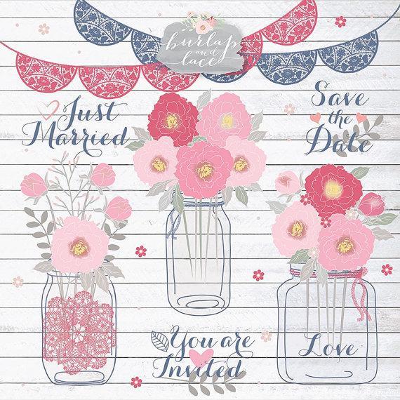 Peonies Wedding Mason Jar Clipart Flower, Flower Clipart.