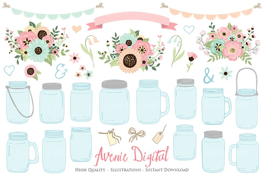 Pink and Mint Floral Mason Jars.
