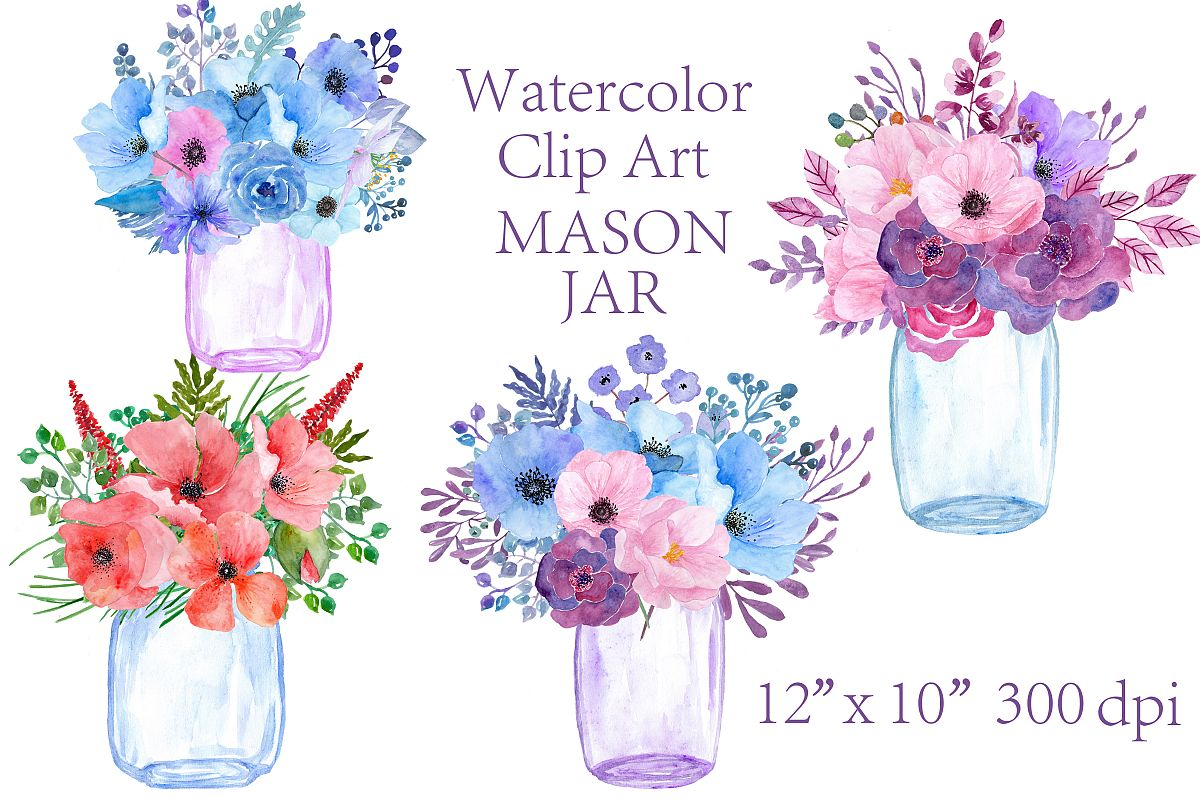Watercolor floral Mason Jars clipart.