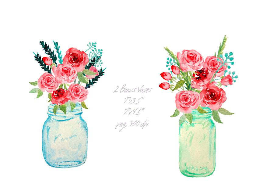 Watercolor mason jars and red roses printable, instant download.
