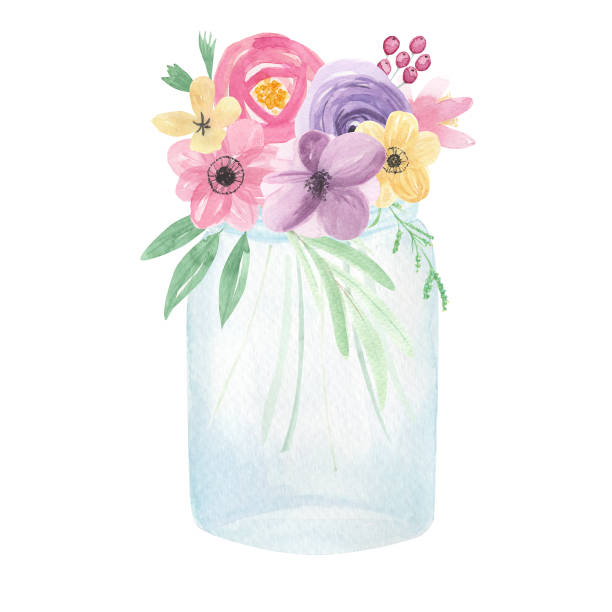 Best Mason Jar Flowers Illustrations, Royalty.