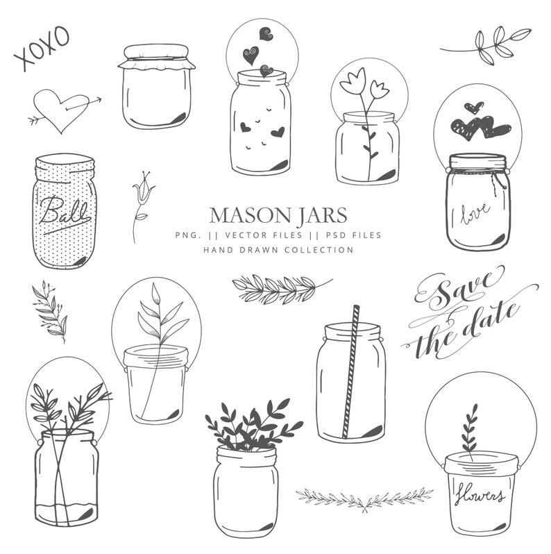 Clipart mason jars, 69 images mason jars, vector mason jar, black, white  and gold mason jar, flowers, wedding decoration, hearts, hand drawn.