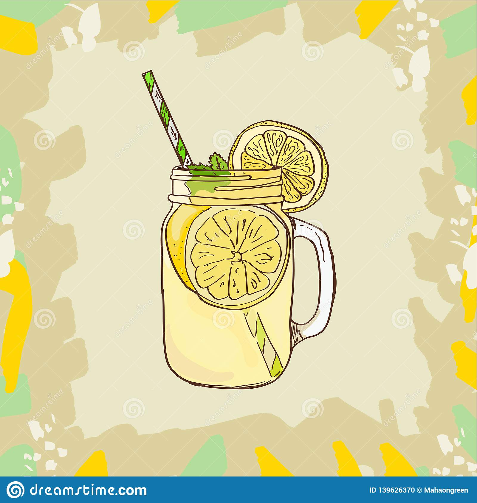 Lemonade In Mason Jar Mug With Drinking Straw And Lemon.