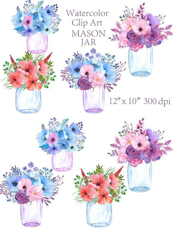 Watercolor Mason Jar clipart. Wedding Card Templates. $8.00.
