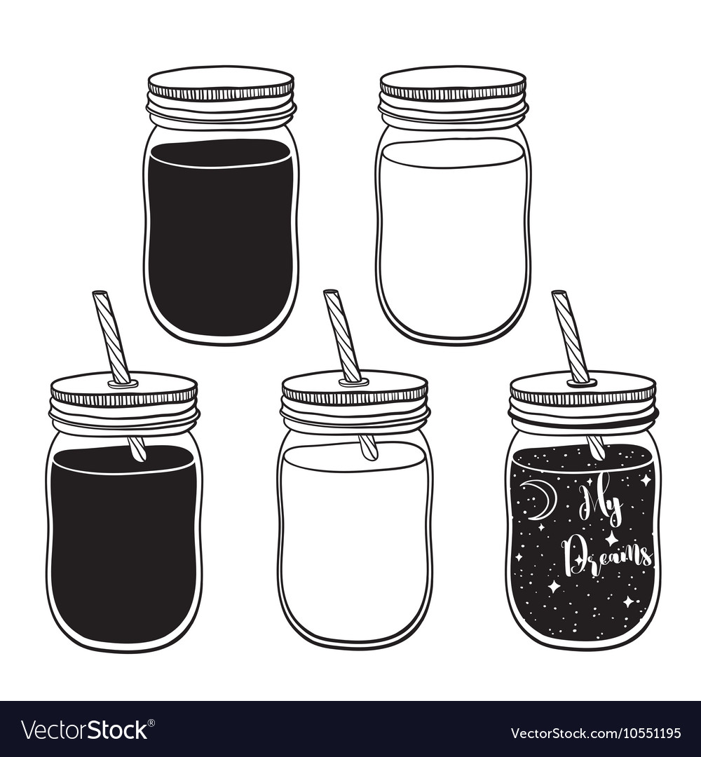 A set of juices in glass jars with straws.
