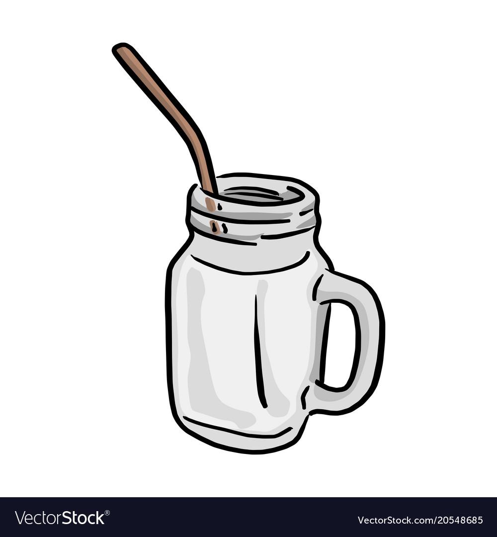 Glass of milk with straw sketch.
