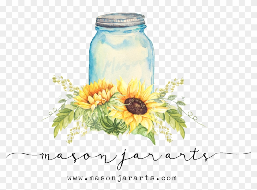 Sunflowers Clipart Mason Jar, HD Png Download.
