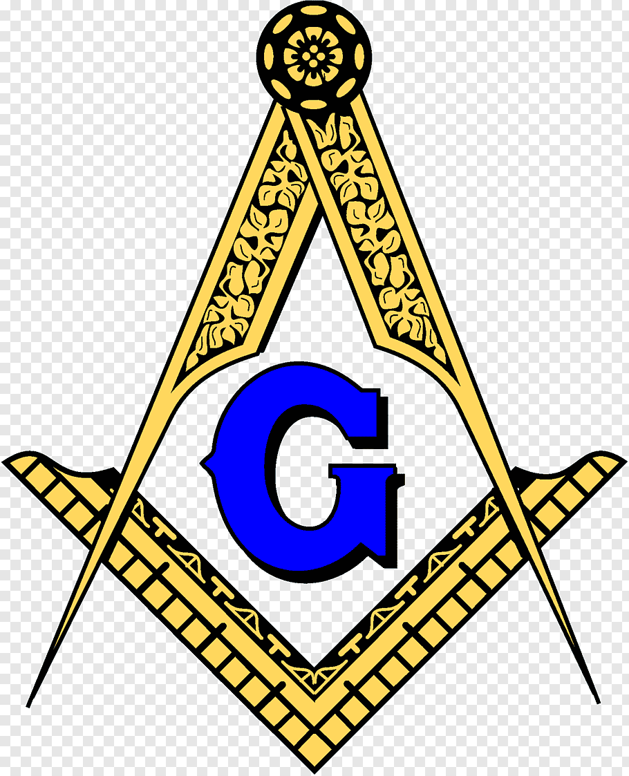 Yellow and blue free mason logo, Square and Compass, Worth.