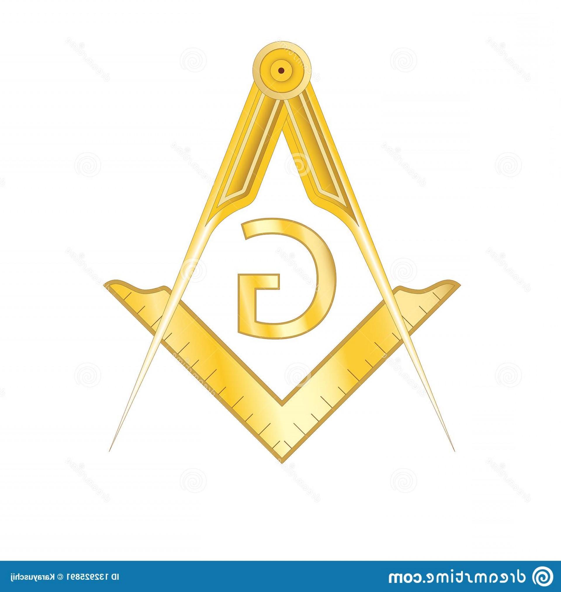 Golden Masonic Square Compass Symbol Golden Masonic Square.
