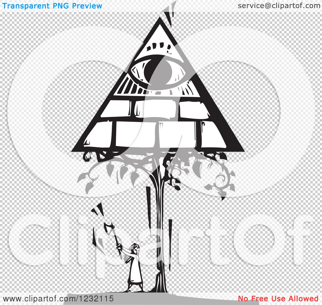 Clipart of a Woodcut Black and White Girl Chopping a Masonic Tree.