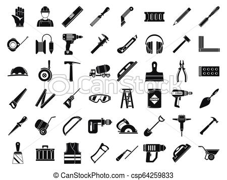 Masonry worker tools icon set, simple style.