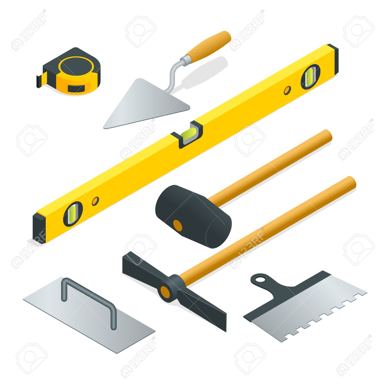 Collection of most common types of masonry tools. Flat 3d isometric...