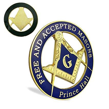 Masonic Prince Hall Car Emblem Freemason Metal Auto Decal.
