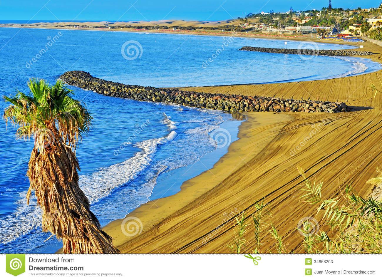 Playa Del Ingles Beach In Maspalomas, Gran Canaria, Spain Stock.