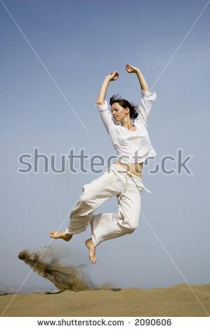 Girl Jumping Joy Dunes Maspalomas Stock Photo 2032279.