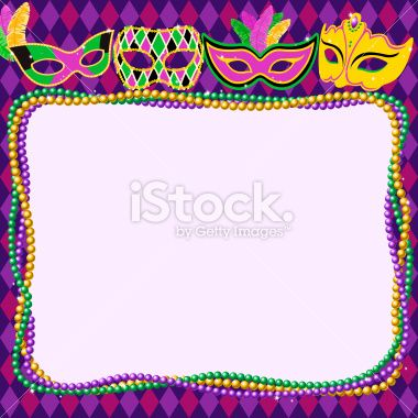 Mardi Gras Masks & Beads Border. EPS10..