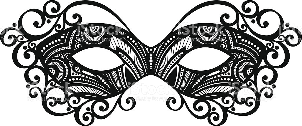 Black and white masquerade mask clipart.