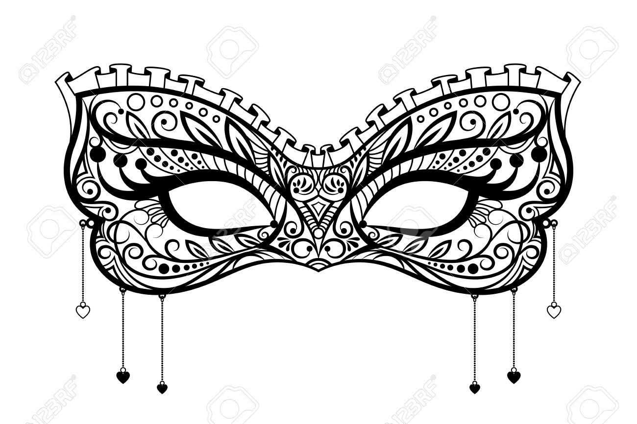 Elegant carnival mask. Black ornate lace masquerade mask. Vector...