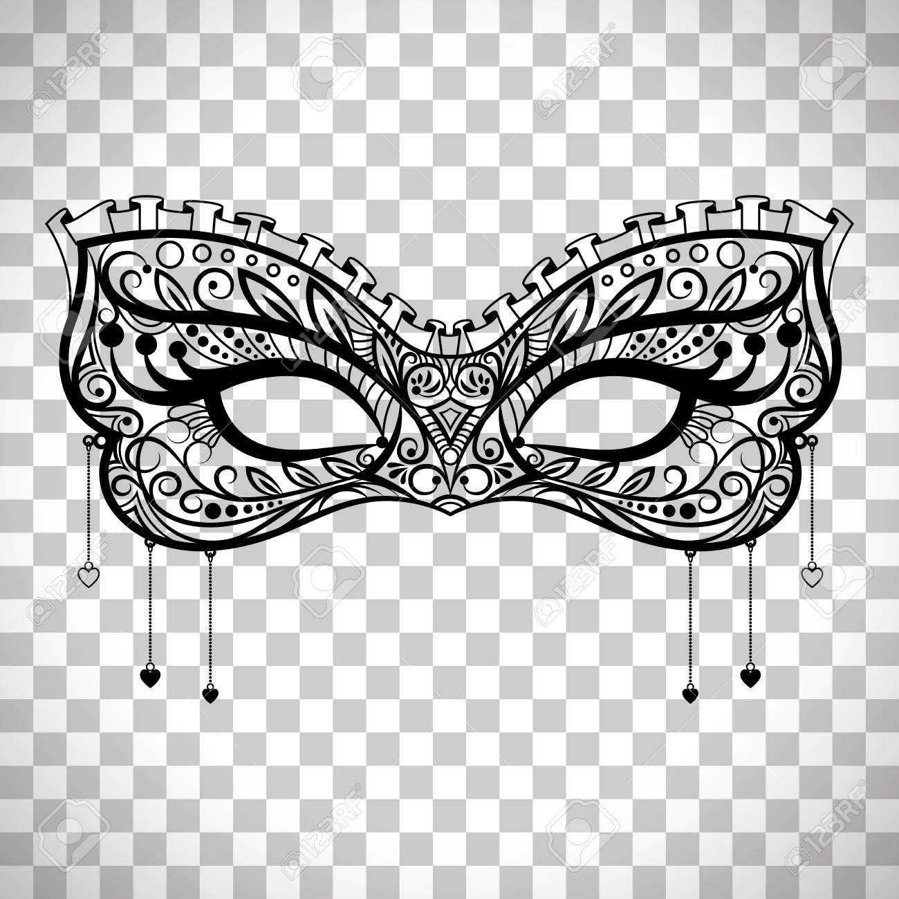 Elegant carnival mask, black ornate lace masquerade mask vector...