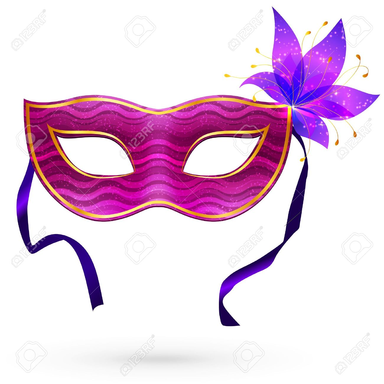 Violet Masque De Carnaval Avec Des Fleurs Clip Art Libres De.
