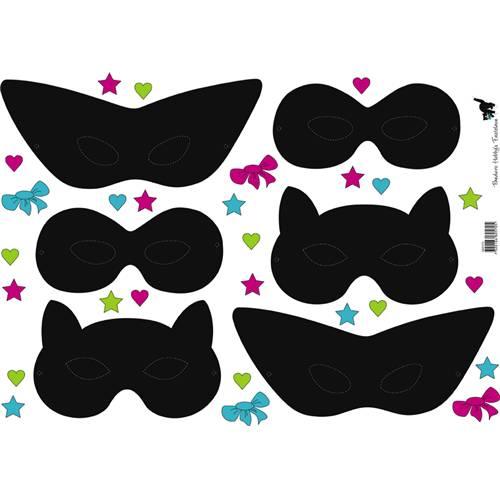 ClipArt Masques Noirs / 6 Pc, Enfants Juniors, Anniversaire Carnaval,.