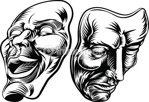Masques De Théâtre Clipart vectoriel.