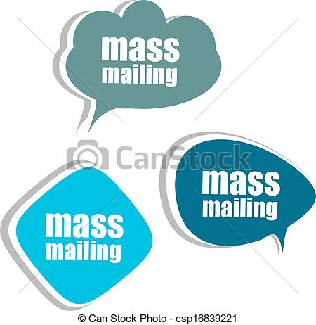 Clip Art of mass mailing. Set of stickers, labels, tags. Business.