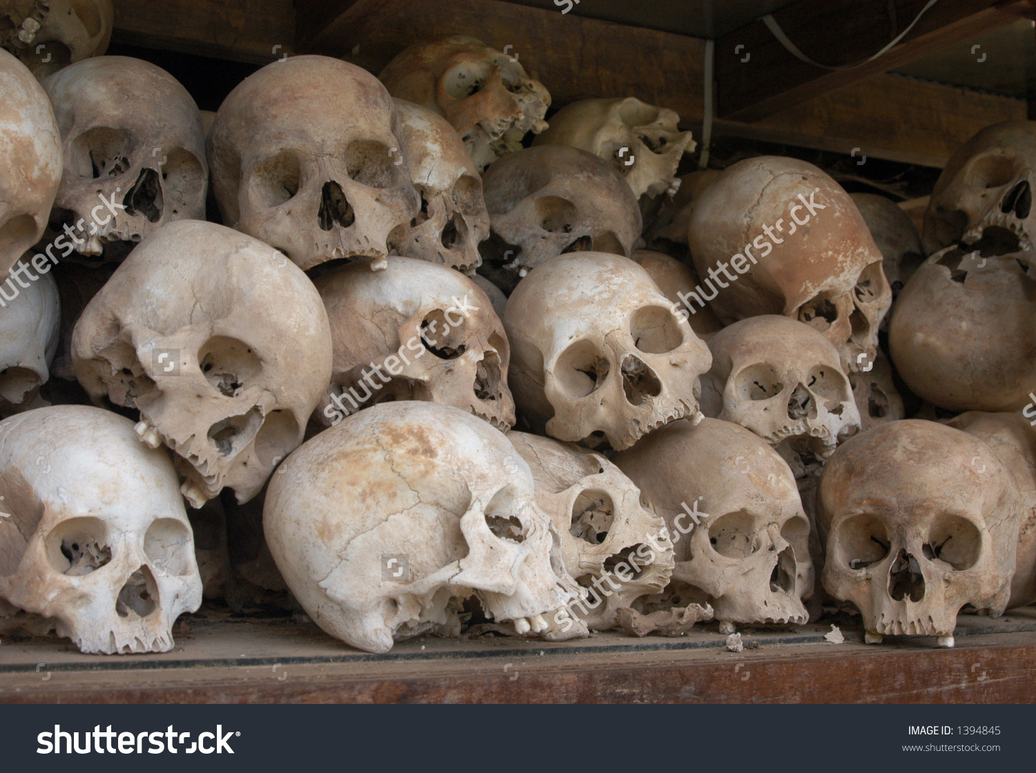 Skulls Mass Grave Khmer Rouge Victims Stock Photo 1394845.