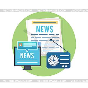 media concept news radio newspaper.