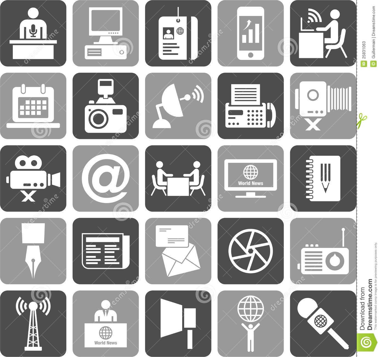 Mass Media Icons Stock Photos.