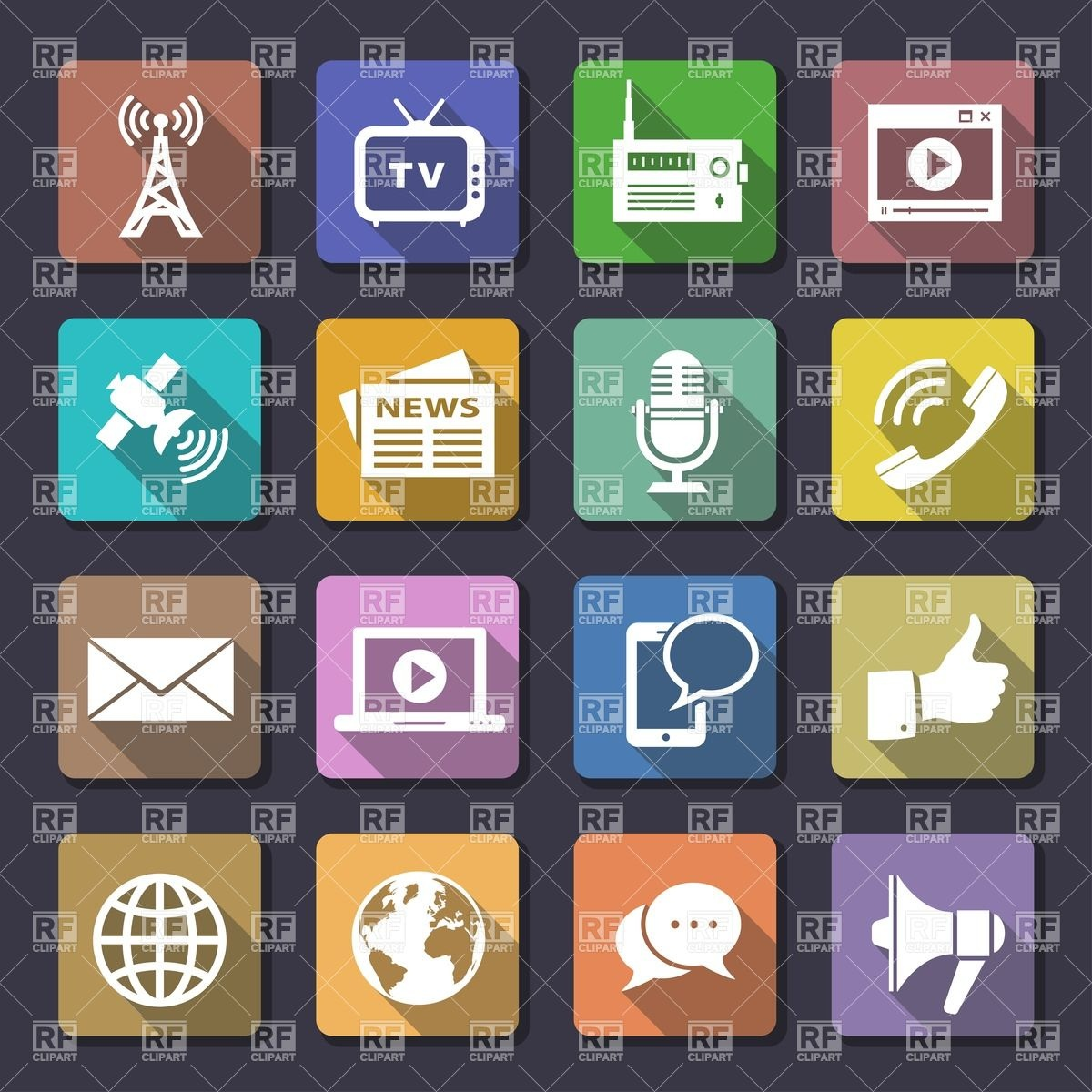 Mass media and telecommunication icons Vector Image #26899.