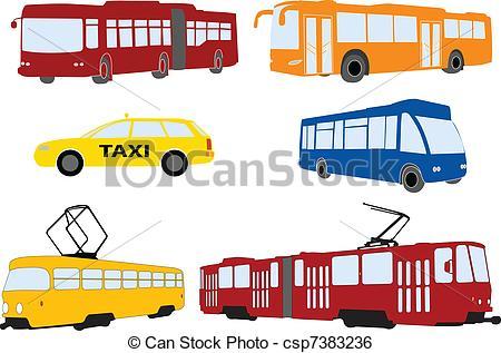 Clip Art Vector of city transportation.