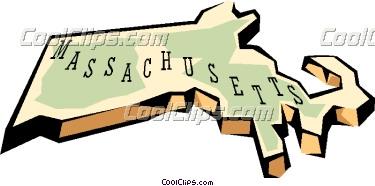 Massachusetts State Map Clipart.