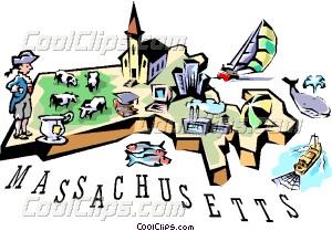 Massachusetts vignette map Vector Clip art.