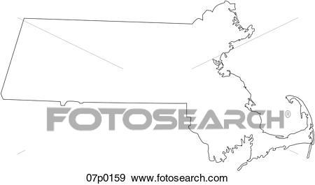 Massachusetts map Clip Art.