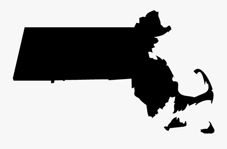 Massachusetts State Outline In Black.