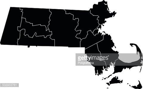 Map of Massachusetts Clipart Image.