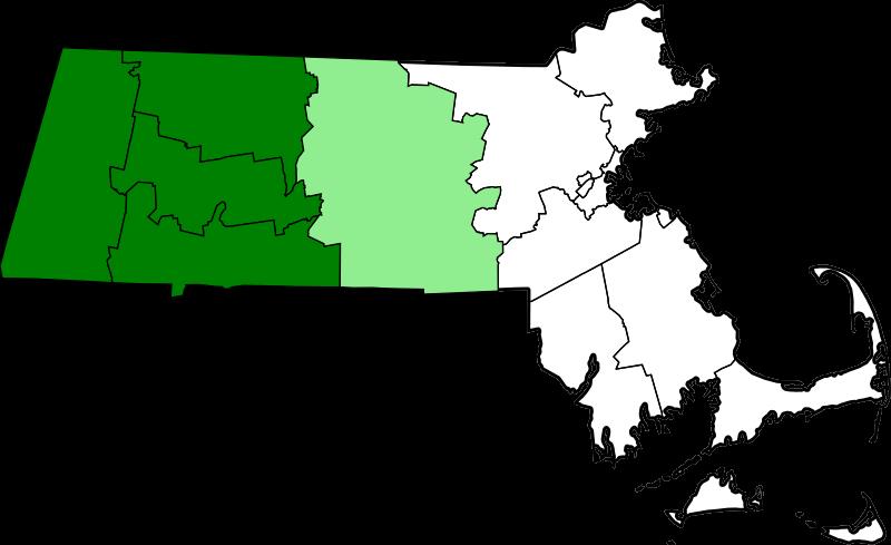 Map Of Massachusetts Highlighting Western Counties.