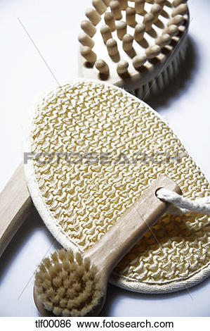 Stock Images of Massage brush, peeling massage brush and loofah.