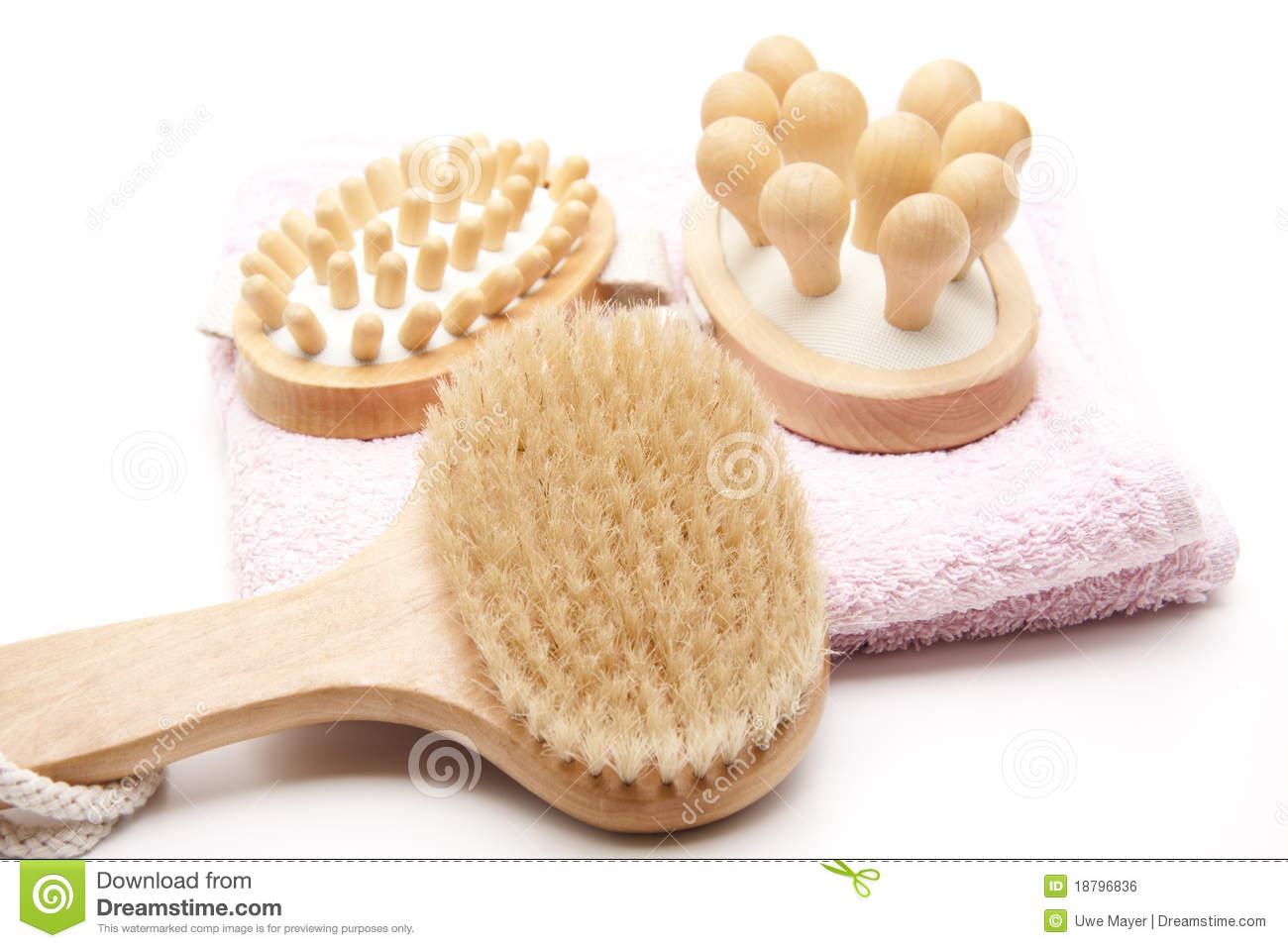 Massage Brush And Towel Royalty Free Stock Image.